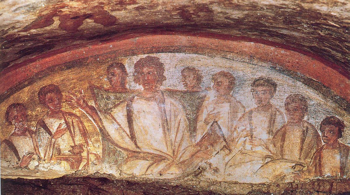Christ enseignant les apôtres, une fresque retrouvée dans les