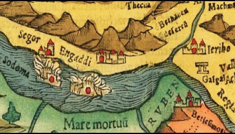 Sur cette carte de 1552, le nord est à droite, et Sodome et Gomorrhe sont englouties.