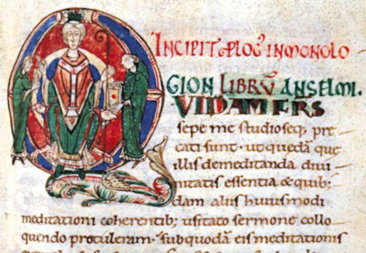 Miniature d'Anselme de Cantorbéry sur un manuscrit du 11ème siècle.